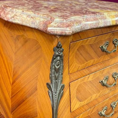 Pair of Kingwood Inlaid Marble Top Nightstands image-5