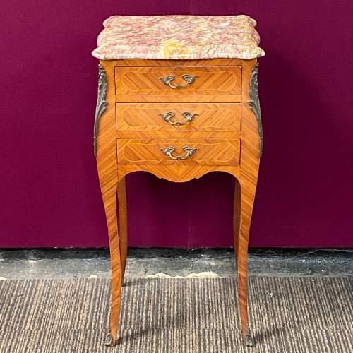 Pair of Kingwood Inlaid Marble Top Nightstands image-3
