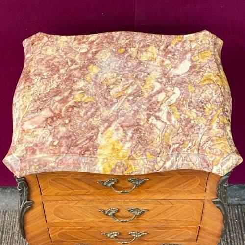 Pair of Kingwood Inlaid Marble Top Nightstands image-6