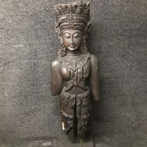 Large Wooden Statue of Burmese Female Figure