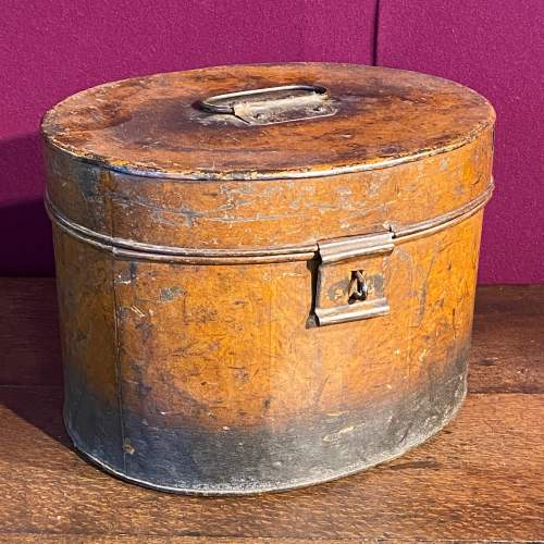 Victorian Oval Metal Hat Box image-1