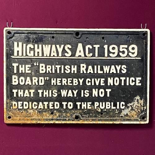 British Railways Highways Act Cast Iron Sign image-1