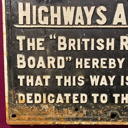 British Railways Highways Act Cast Iron Sign image-2