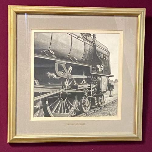 Great Original Pencil Drawing Of Train Blue Peter by W Tattum image-1