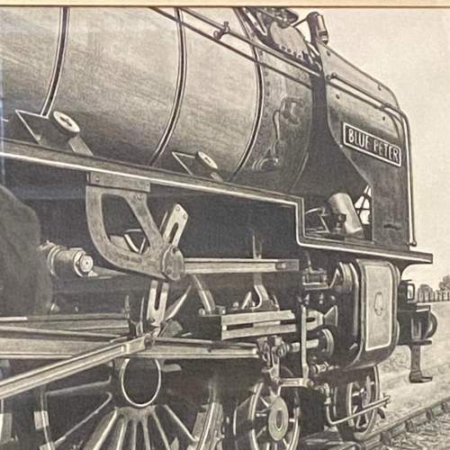 Great Original Pencil Drawing Of Train Blue Peter by W Tattum image-2