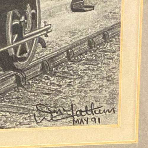 Great Original Pencil Drawing Of Train Blue Peter by W Tattum image-4