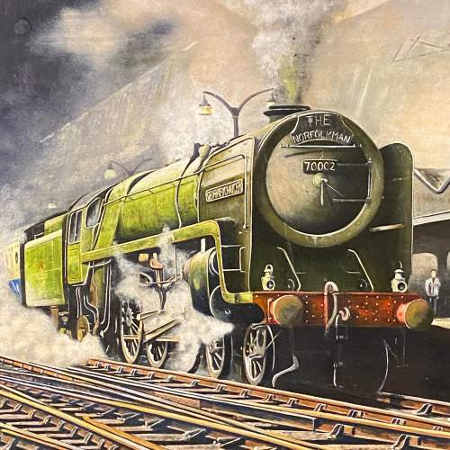 Original Oil Painting of Britannia Pacific Train by B Peters image-2