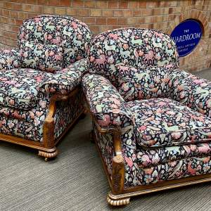 Pair of Victorian Upholstered Squab Armchairs