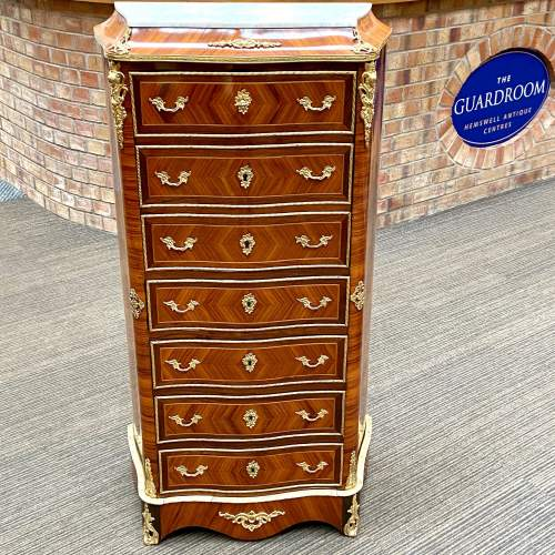 Victorian Fine Serpentine Tulipwood Secretaire Chest of Drawers image-1