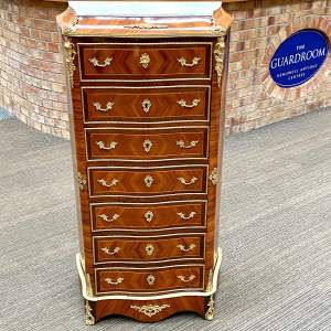 Victorian Fine Serpentine Tulipwood Secretaire Chest of Drawers