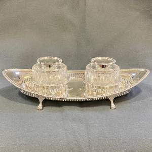 Early 20th Century James Sherwood and Co Silver Inkstand