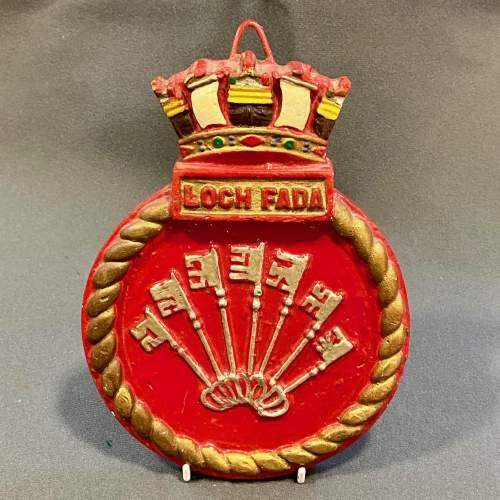 Rare WWII British Royal Navy Loch Fada Wardroom Nameplate image-1