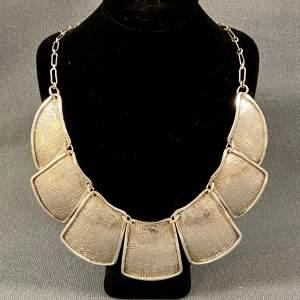 Vintage Silver Hieroglyph Plate Necklace