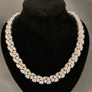 Vintage Silver Cubic Zirconia Necklace