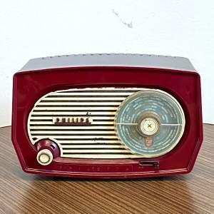 Vintage Burgundy Bakelite Philips Radio