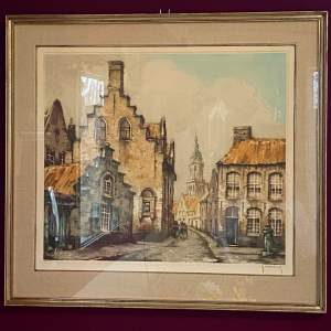 Belgian Roger Hebbelinck Etching of Bruges