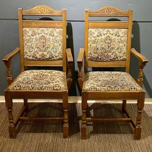 Mid 20th Century Pair of Oak Carver Chairs