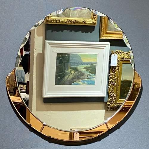 Art Deco 1930s Peach Glass Circular Wall Mirror image-1