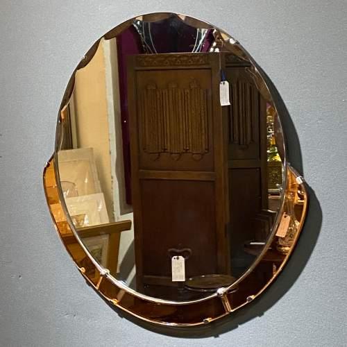 Art Deco 1930s Peach Glass Circular Wall Mirror image-2