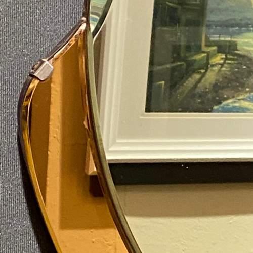 Art Deco 1930s Peach Glass Circular Wall Mirror image-4