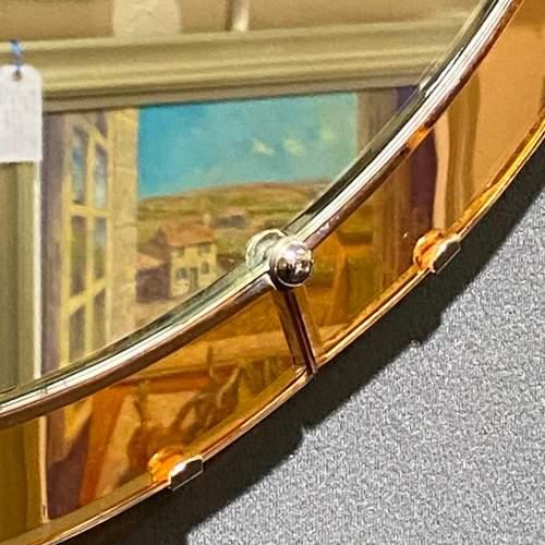 Art Deco 1930s Peach Glass Circular Wall Mirror image-3