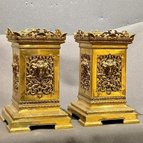 Pair of Good Quality Victorian Solid Brass Garnitures image-2