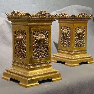 Pair of Good Quality Victorian Solid Brass Garnitures