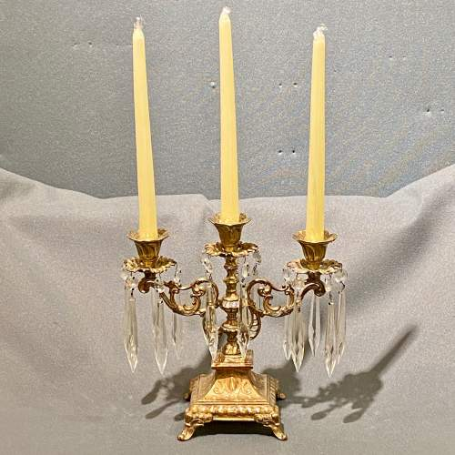 Early 20th Century French Ornate Brass Candelabra image-2