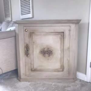 Antique Oak French Style Corner Cupboard