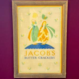 Original Jacobs Butter Crackers Advertising Sign and Frame