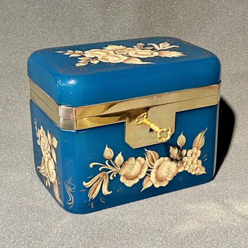 Late 19th Century Small Opaline Glass Casket image-1