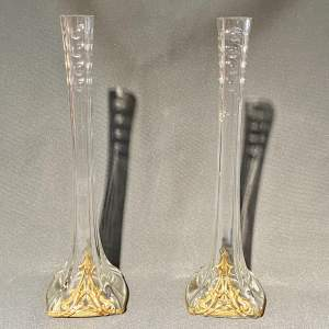 Pair of Art Nouveau Crystal and Gilt Narrow Vases