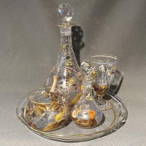 Very Unusual Glass Bedside Drinking Set with Sea Creature Design