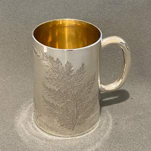 Victorian Solid Silver Tankard with Fern Decoration