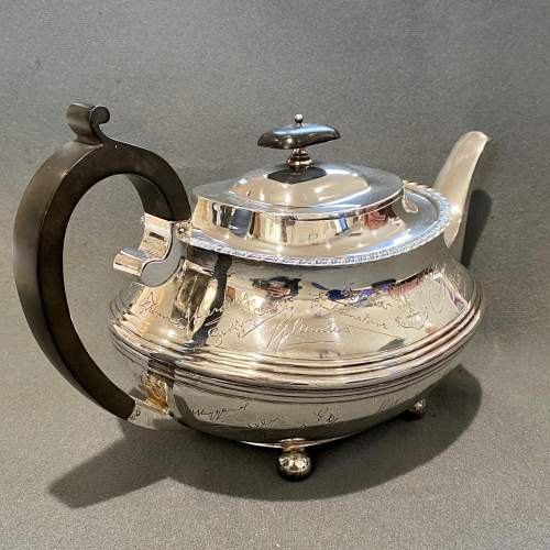 Admiral J.C.Tovey Inscribed Solid Silver Teapot image-2