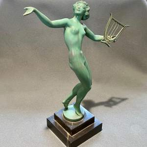 Art Deco Spelter Figure of a Woman with a Harp