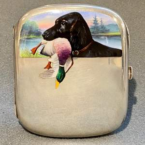 Fine Silver Case with Hunting Dog in Enamel