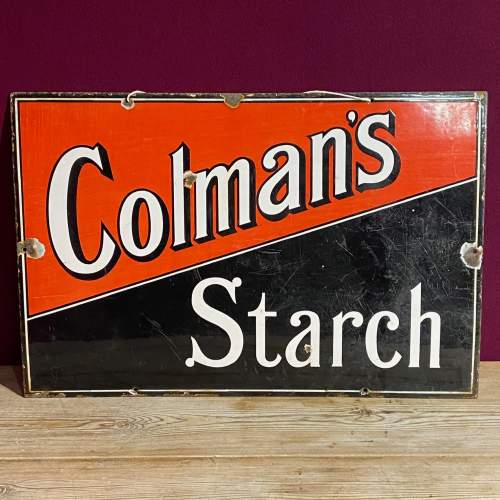 Vintage Colmans Starch Enamel Advertising Sign image-1