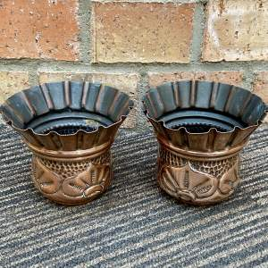 Pair of Miniature Arts and Crafts Copper Vases
