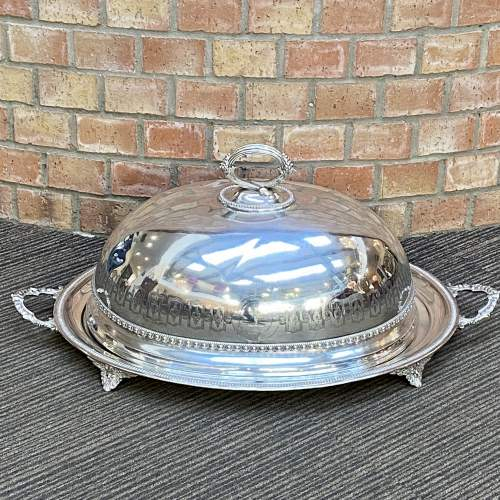 Large 19th Century Silver Plated Meat Cover and Tray image-1