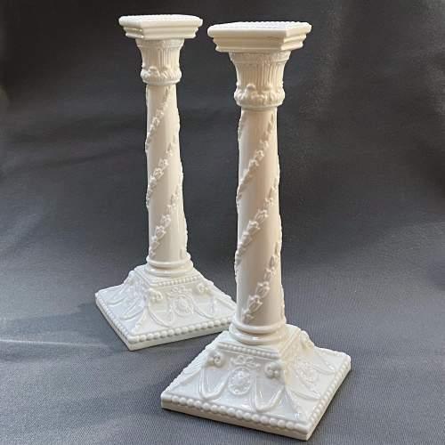 Pair of Royal Worcester Creamware Porcelain Candlesticks image-1