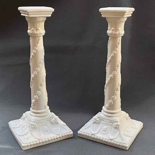 Pair of Royal Worcester Creamware Porcelain Candlesticks image-2