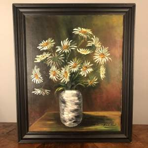 Large Oil Painting of Daisies in a Vase