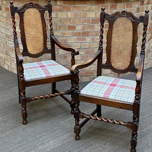 Pair of Early 20th Century Oak Carver Chairs image-1