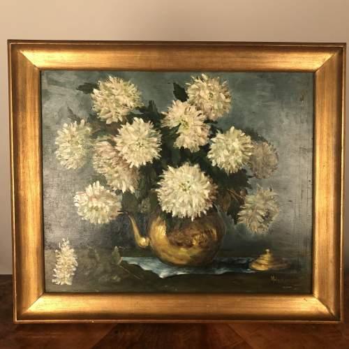 Oil Painting of Chrysanthemums image-1