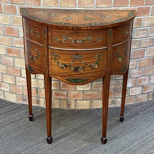 Edwardian Inlaid and Painted Demi Lune Cabinet image-1