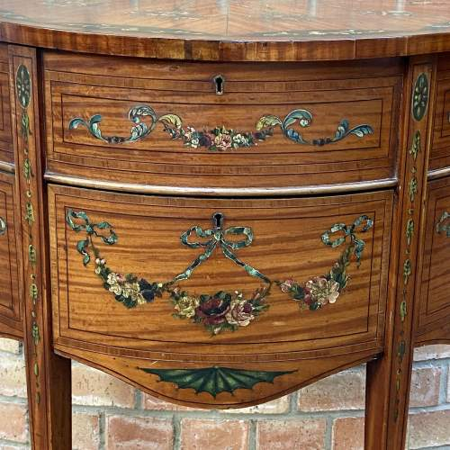 Edwardian Inlaid and Painted Demi Lune Cabinet image-2