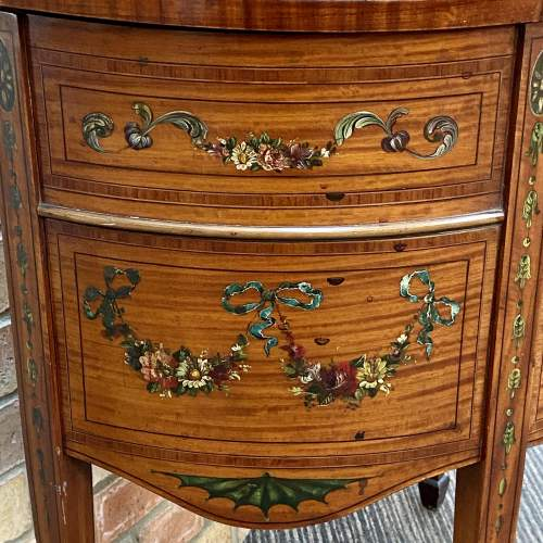 Edwardian Inlaid and Painted Demi Lune Cabinet image-3