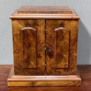 19th Century Small Figured Walnut Cabinet