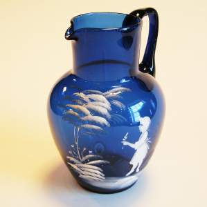 19th Century Mary Gregory type Glass Jug